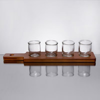 Acopa Dual-Sided Flight Paddle with Rounded Tasting Glasses