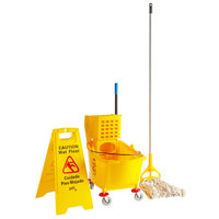 Lavex Janitorial Wet Mop Kit with 35 Qt. Yellow Mop Bucket, Wet Floor Sign, Mop Head, and Handle