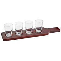Acopa Mahogany Finish Drop-In Flight Paddle with Barbary Tasting Glasses
