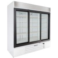 Beverage-Air LV66HC-1-W LumaVue 75 inch White Refrigerated Glass Door Merchandiser with LED Lighting