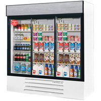 Beverage Air LV66Y-1-W-LED LumaVue 75 inch Three Section Glass Door White Merchandising Refrigerator with LED Lighting- 70 Cu. Ft.