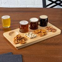 Acopa Beer Flight Set - 4 Beer Tasting Glasses with Natural Finish Wood Board