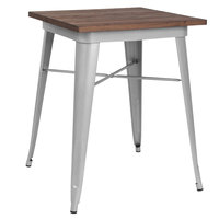 Flash Furniture CH-31330-29M1-SIL-GG 23 1/2 inch Square Walnut Standard Height Table with Silver Metal Frame
