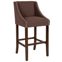 Flash Furniture CH-182020-30-BN-F-GG Carmel Series Brown Fabric Bar Stool with Walnut Frame and Nail Trim Accents