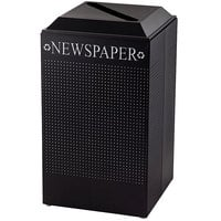 Rubbermaid FGDCR24PTBK Silhouettes Textured Black Designer Recycling Receptacle - Paper 29 Gallon