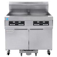 Frymaster 21814GF Oil Conserving 126 lb. Liquid Propane 2 Unit Floor Fryer with Digital Controller and Filtration System - 238,000 BTU