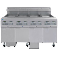 Frymaster 4FQG30U FilterQuick Oil-Conserving 30 lb. Liquid Propane Four Unit Floor Fryer with SMART4U Technology and Fully Automatic Filtration System - 440,000 BTU