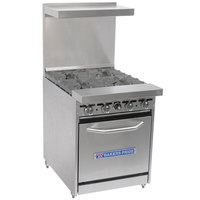 Bakers Pride Restaurant Series 24-BP-4B-S20 Liquid Propane 4 Burner Range with Standard 20 inch Oven