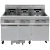 Frymaster 31814EF Oil Conserving 180 lb. Electric 3 Unit Floor Fryer with SMART4U 3000 Controls and Filtration System - 240V, 3 Phase, 51 kW