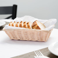 Tablecraft 1172W 9 inch x 6 inch x 2 1/4 inch Beige Rectangular Woven Rattan Basket