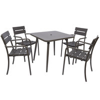 BFM Seating PH4L3255BZUT Fresco 32 inch x 55 inch Bar Height Table with Solid Aluminum Top, Bronze Powder Coat, and Umbrella Hole