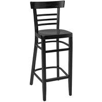 BFM Seating ZWB66BL-BL Giulia Black Beechwood Bar Height Chair