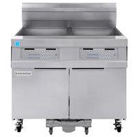 Frymaster 21814GF Oil Conserving 126 lb. Liquid Propane 2 Unit Floor Fryer with SMART4U 3000 Controls and Filtration System - 238,000 BTU
