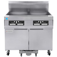 Frymaster 21814GF Oil Conserving 126 lb. Natural Gas 2 Unit Floor Fryer with CM3.5 Controls and Filtration System - 238,000 BTU