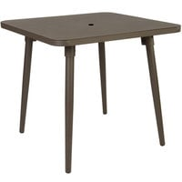 BFM Seating PH4L3232BZU Fresco 32 inch Square Table with Solid Aluminum Top, Bronze Powder Coat, and Umbrella Hole