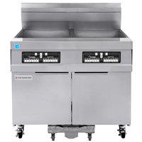Frymaster 21814GF Oil Conserving 126 lb. Liquid Propane 2 Unit Floor Fryer with CM3.5 Controls and Filtration System - 238,000 BTU