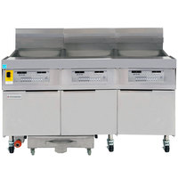 Frymaster FPLHD365 100 lb. Natural Gas Three Unit Floor Fryer with Thermatron Controls and Filtration System - 315,000 BTU