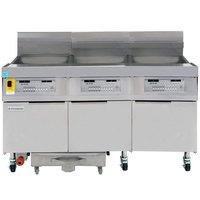Frymaster FPLHD365 100 lb. Liquid Propane Three Unit Floor Fryer with Thermatron Controls and Filtration System - 315,000 BTU
