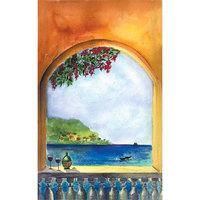 8 1/2 inch x 14 inch Menu Paper Cover - Mediterranean Themed Villa Design - 100/Pack
