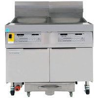 Frymaster FPLHD265 100 lb. Natural Gas Two Unit Floor Fryer with Thermatron Controls and Filtration System - 210,000 BTU