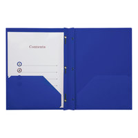Universal UNV20551 11 inch x 8 1/2 inch Navy Blue Plastic Twin-Pocket Report Cover with Prong Fasteners, Letter - 10/Pack