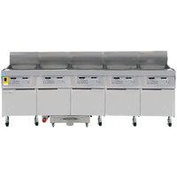 Frymaster FPLHD565 100 lb. Natural Gas Five Unit Floor Fryer with SMART4U 3000 Controls and Filtration System - 525,000 BTU