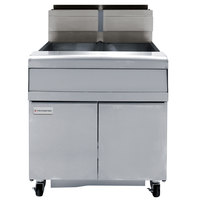 Frymaster FMJ240 40 lb. Natural Gas Two Unit Floor Fryer with Filtration System and Millivolt Temperature Control - 220,000 BTU