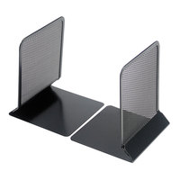 Universal UNV20025 5 3/8 inch x 5 3/8 inch x 6 3/4 inch Black Metal Mesh Bookends