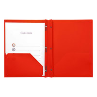Universal UNV20553 11 inch x 8 1/2 inch Red Plastic Twin-Pocket Report Cover with Prong Fasteners, Letter - 10/Pack