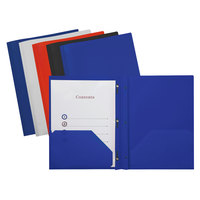 Universal UNV20555 11 inch x 8 1/2 inch Assorted Color Plastic Twin-Pocket Report Cover with Prong Fasteners, Letter - 10/Pack