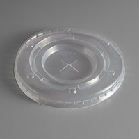 Carnival King 12-22 oz. Clear Cold Cup Flat Lid with Straw Slot for Lemonade Cup - 100/Pack