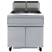 Frymaster FMJ240 40 lb. Liquid Propane Two Unit Floor Fryer with Filtration System and Millivolt Temperature Control - 220,000 BTU