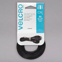 Velcro® 95172 ONE-WRAP 8 inch x 1/2 inch Hook and Loop Black Fasteners - 50/Pack