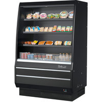 Turbo Air TOM-50MB-SP-A-N 50 inch Black Air Curtain Merchandiser with Black / Mirrored Interior and Solid Side Panels