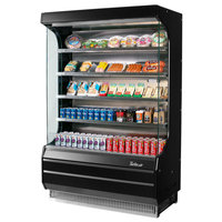 Turbo Air TOM-40B-SP-A-N 39 inch Black Refrigerated Air Curtain Merchandiser with Black / Mirrored Interior and Solid Side Panels