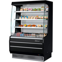 Turbo Air TOM-40MB-SP-A-N 39 inch Black Air Curtain Merchandiser with Black / Mirrored Interior and Solid Side Panels