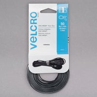 Velcro® 90924 ONE-WRAP 8 inch x 1/2 inch Hook and Loop Black/Gray Fasteners - 50/Pack