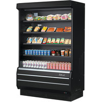 Turbo Air TOM-50B-SP-A-N 51 inch Black Refrigerated Air Curtain Merchandiser with Black / Mirrored Interior and Solid Side Panels