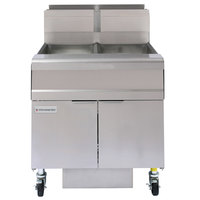 Frymaster FMJ250 50 lb. Natural Gas Two Unit Floor Fryer with Filtration System and Millivolt Temperature Control - 244,000 BTU