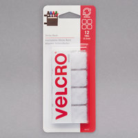 Velcro® 90073 Sticky Back 7/8 inch Square White Fasteners   - 12/Pack