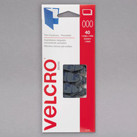 Velcro® 91385 1/2 inch x 1 1/4 inch Black Oval Fasteners - 40/Pack