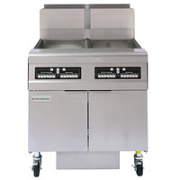 Frymaster FMJ250 50 lb. Liquid Propane Two Unit Floor Fryer with Filtration System and Computer Magic III.5 Controls - 244,000 BTU