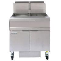 Frymaster FMJ250 50 lb. Liquid Propane Two Unit Floor Fryer with Filtration System and Millivolt Temperature Control - 244,000 BTU