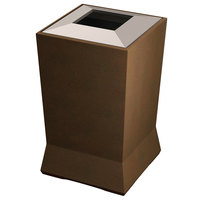 Commercial Zone 724665 ModTec 39 Gallon Old Bronze Square Waste Container with Stainless Steel Lid