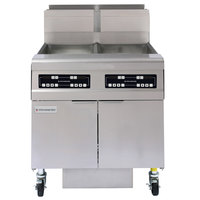 Frymaster FMJ250 50 lb. Natural Gas Two Unit Floor Fryer with Filtration System and Touchpad Digital Controls - 244,000 BTU