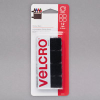 Velcro® 90072 Sticky Back 7/8 inch Square Black Fasteners   - 12/Pack