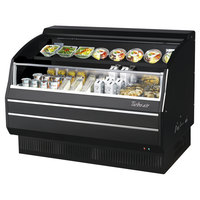Turbo Air TOM-60LB-SP-N 63 inch Black Low Profile Horizontal Air Curtain Display Case with Solid Side Panels