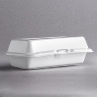 Dart Solo 72HT1 7 inch x 4 inch x 2 inch White Foam Hinged Lid Hot Dog Container - 500/Case