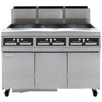 Frymaster FMJ350 50 lb. Liquid Propane Three Unit Floor Fryer with Filtration System and Computer Magic III.5 Controls - 366,000 BTU