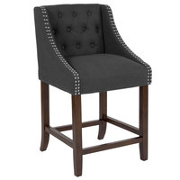 Flash Furniture CH-182020-T-24-BK-F-GG Carmel Series Counter Height Stool in Black Tufted Fabric with Walnut Frame and Nail Trim Accent